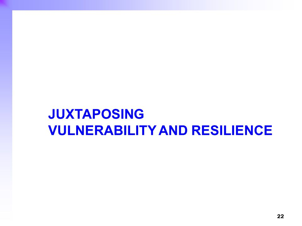 22 JUXTAPOSING VULNERABILITY AND RESILIENCE