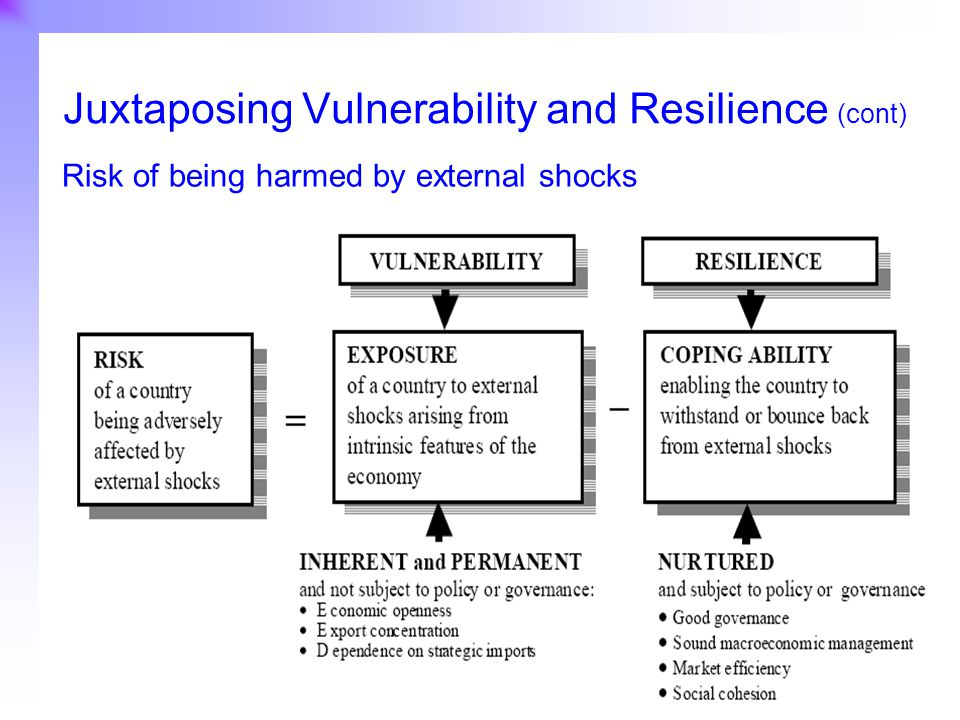 24 Juxtaposing Vulnerability and Resilience (cont) Risk of being harmed by external shocks