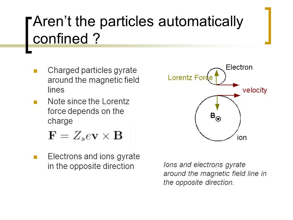 Aren't the particles automatically confined .