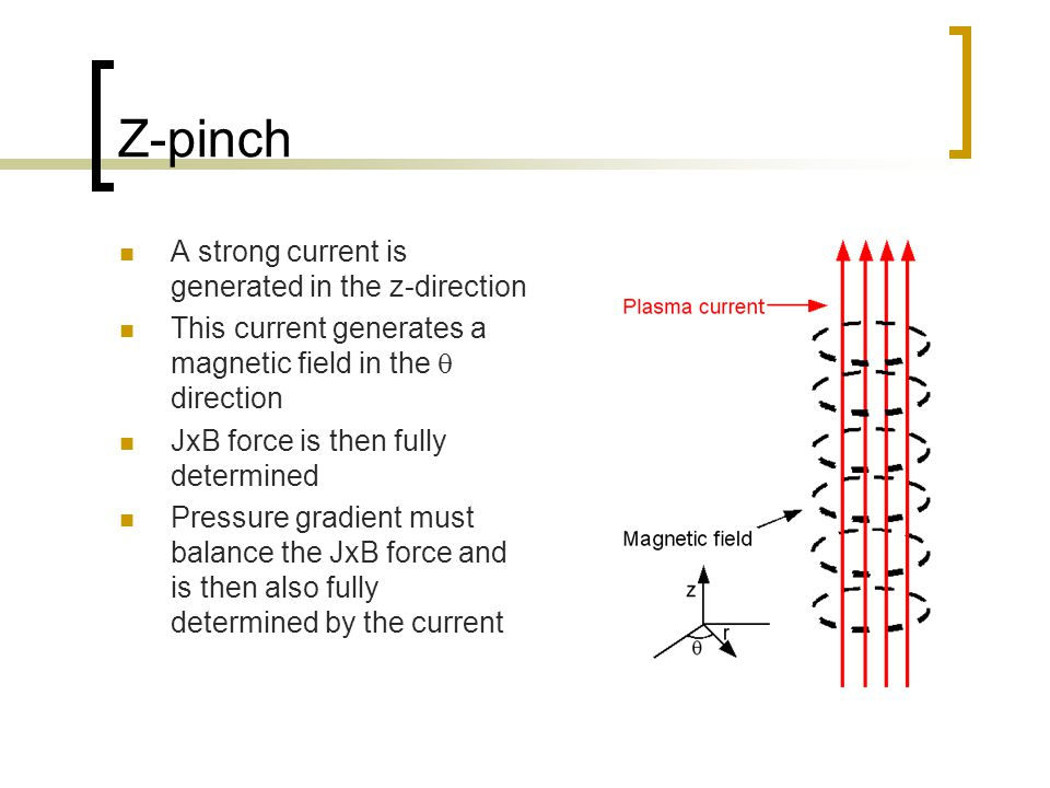 Z-pinch A strong current is generated in the z-direction This current generates a magnetic field in the  direction JxB force is then fully determined Pressure gradient must balance the JxB force and is then also fully determined by the current