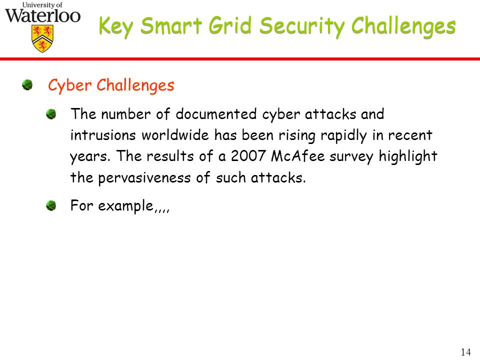 14 Key Smart Grid Security Challenges Cyber Challenges The number of documented cyber attacks and intrusions worldwide has been rising rapidly in recent years.