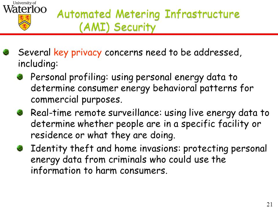 21 Automated Metering Infrastructure (AMI) Security Several key privacy concerns need to be addressed, including: Personal profiling: using personal energy data to determine consumer energy behavioral patterns for commercial purposes.