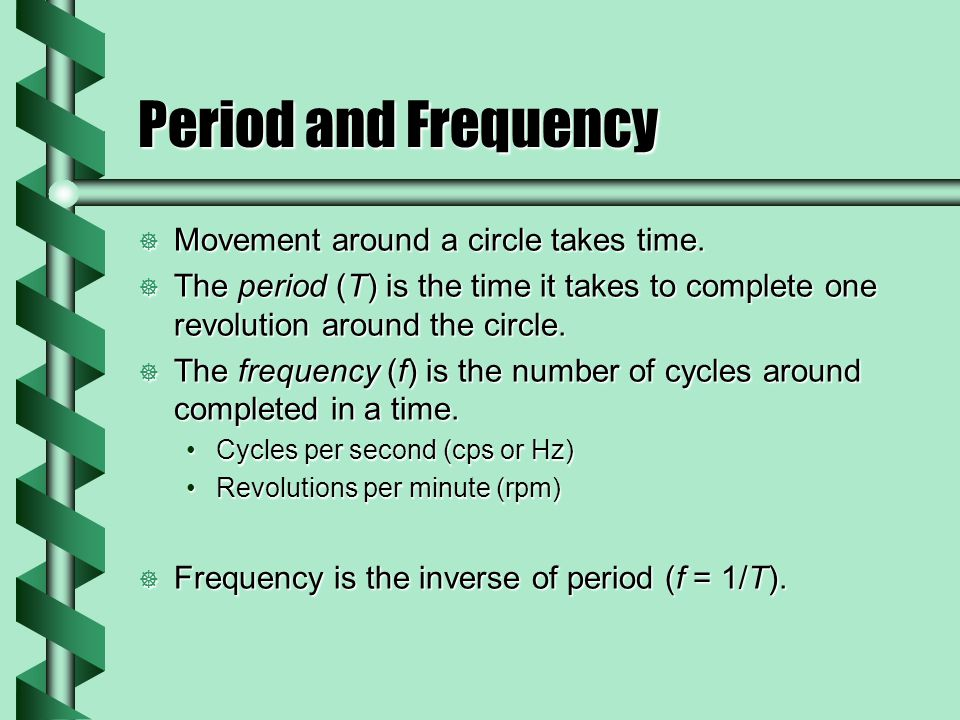 Period and Frequency  Movement around a circle takes time.