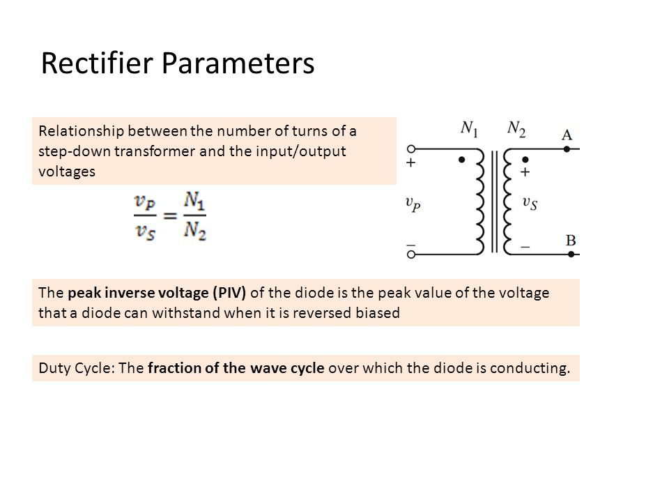 Duty Cycle: The fraction of the wave cycle over which the diode is conducting.
