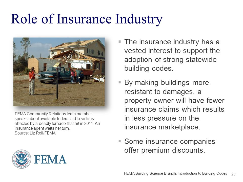 Role of Insurance Industry  The insurance industry has a vested interest to support the adoption of strong statewide building codes.