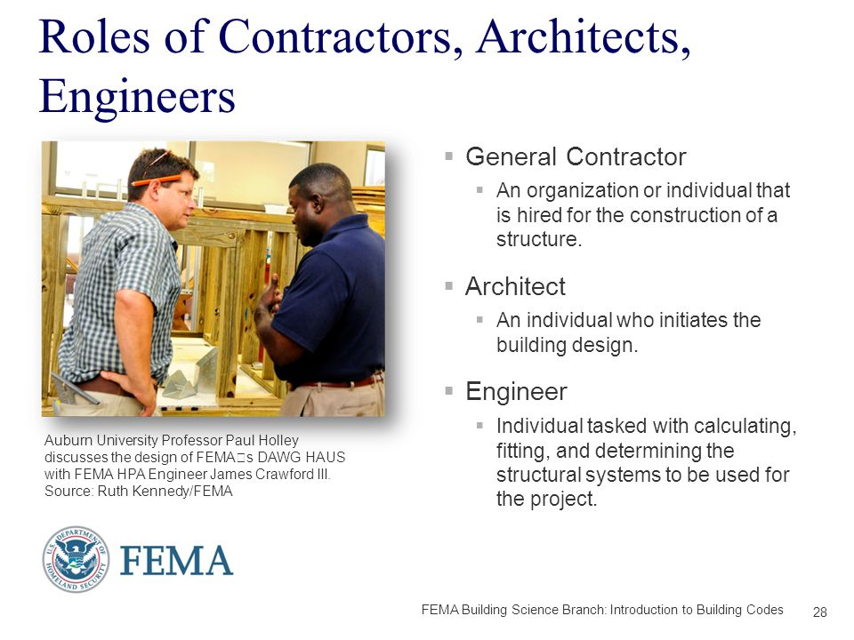 Roles of Contractors, Architects, Engineers  General Contractor  An organization or individual that is hired for the construction of a structure.