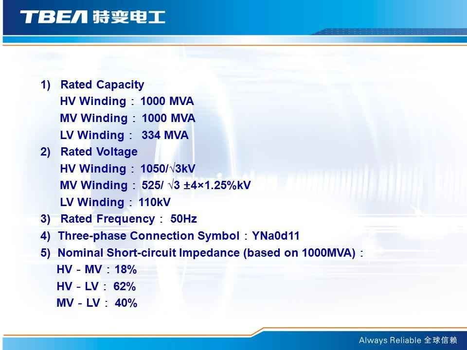 1) Rated Capacity HV Winding : 1000 MVA MV Winding : 1000 MVA LV Winding : 334 MVA 2) Rated Voltage HV Winding : 1050/√3kV MV Winding : 525/ √3 ±4×1.25%kV LV Winding : 110kV 3) Rated Frequency : 50Hz 4) Three-phase Connection Symbol : YNa0d11 5) Nominal Short-circuit Impedance (based on 1000MVA) : HV - MV : 18% HV - LV : 62% MV - LV : 40%