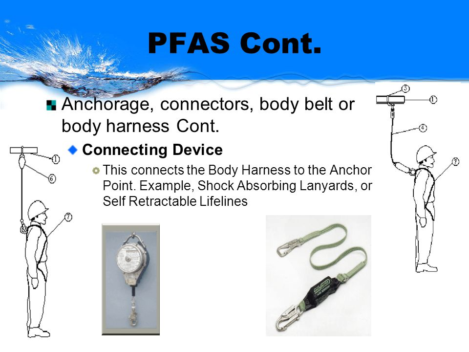 PFAS Cont. Anchorage, connectors, body belt or body harness Cont. Connecting Device This connects the Body Harness to the Anchor Point. Example, Shock