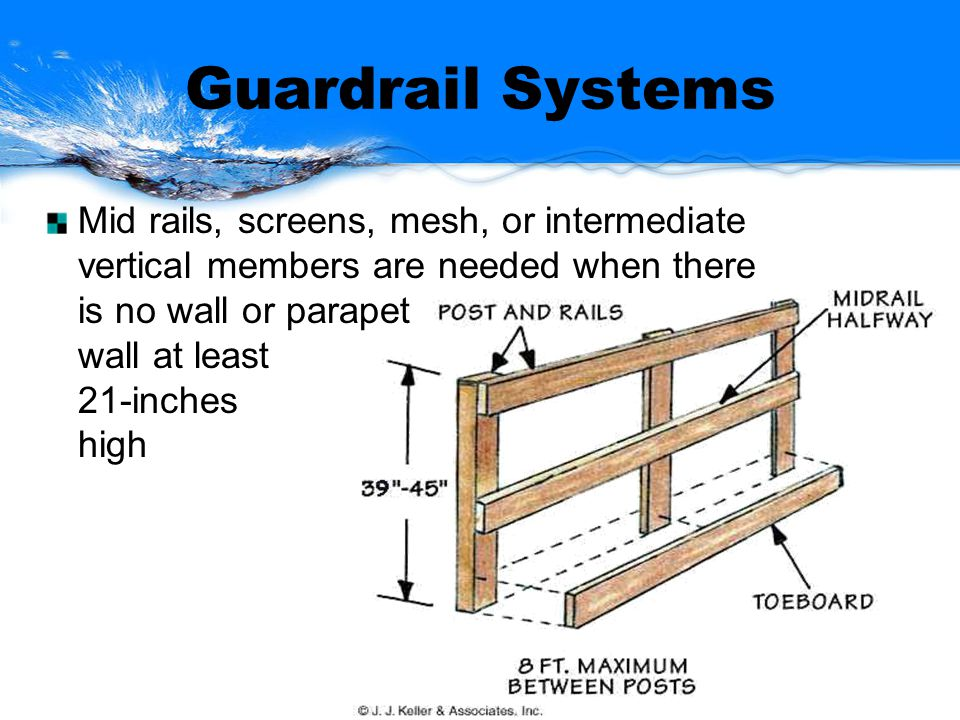 Guardrail Systems Mid rails, screens, mesh, or intermediate vertical members are needed when there is no wall or parapet wall at least 21-inches high
