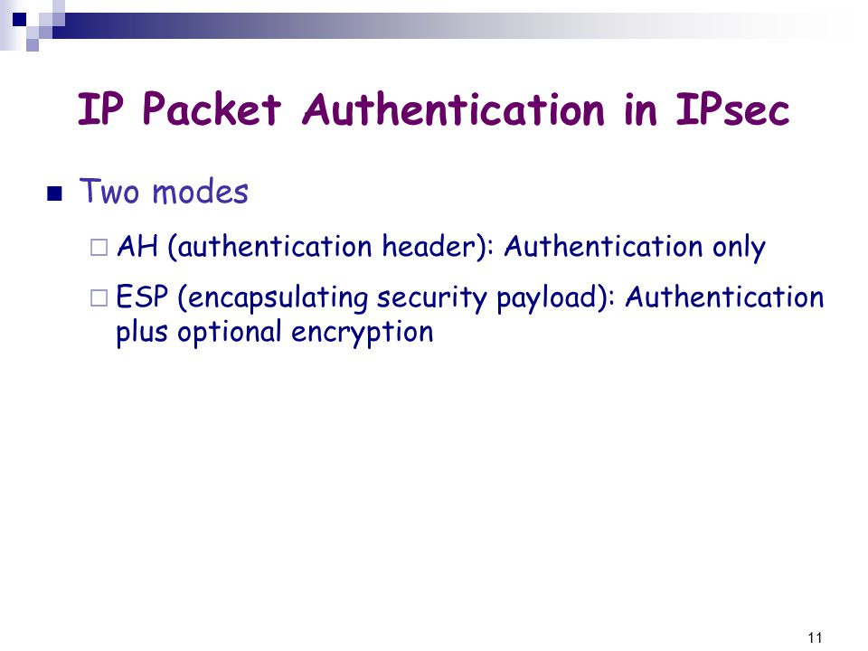 11 IP Packet Authentication in IPsec Two modes  AH (authentication header): Authentication only  ESP (encapsulating security payload): Authentication plus optional encryption