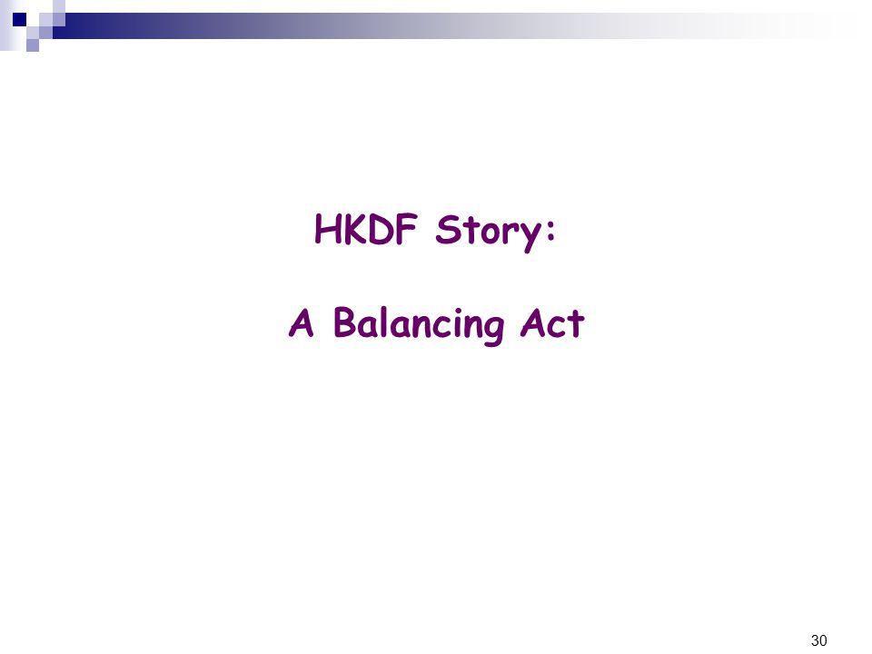 30 HKDF Story: A Balancing Act