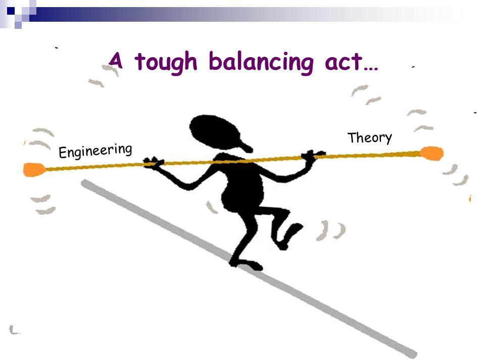 6 A tough balancing act… Theory Engineering Theory Engineering