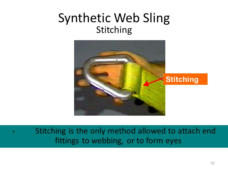 Synthetic Web Sling Stitching Stitching is the only method allowed to attach end fittings to webbing, or to form eyes 19 Stitching