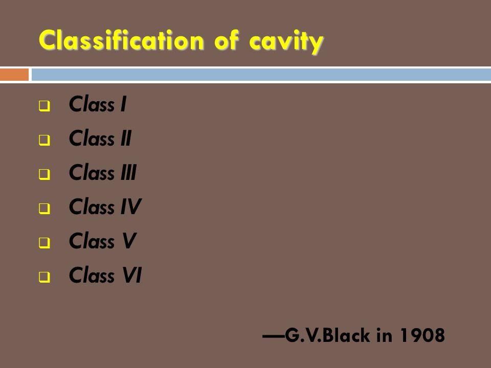 Classification of cavity  Class I  Class II  Class III  Class IV  Class V  Class VI —G.V.Black in 1908