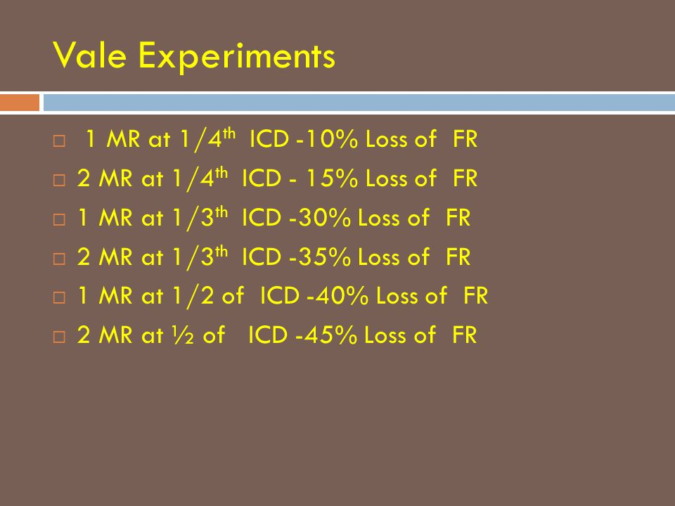 Vale Experiments  1 MR at 1/4 th ICD -10% Loss of FR  2 MR at 1/4 th ICD - 15% Loss of FR  1 MR at 1/3 th ICD -30% Loss of FR  2 MR at 1/3 th ICD