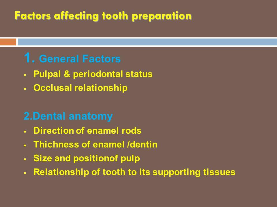 Factors affecting tooth preparation 1. General Factors  Pulpal & periodontal status  Occlusal relationship 2.Dental anatomy  Direction of enamel ro