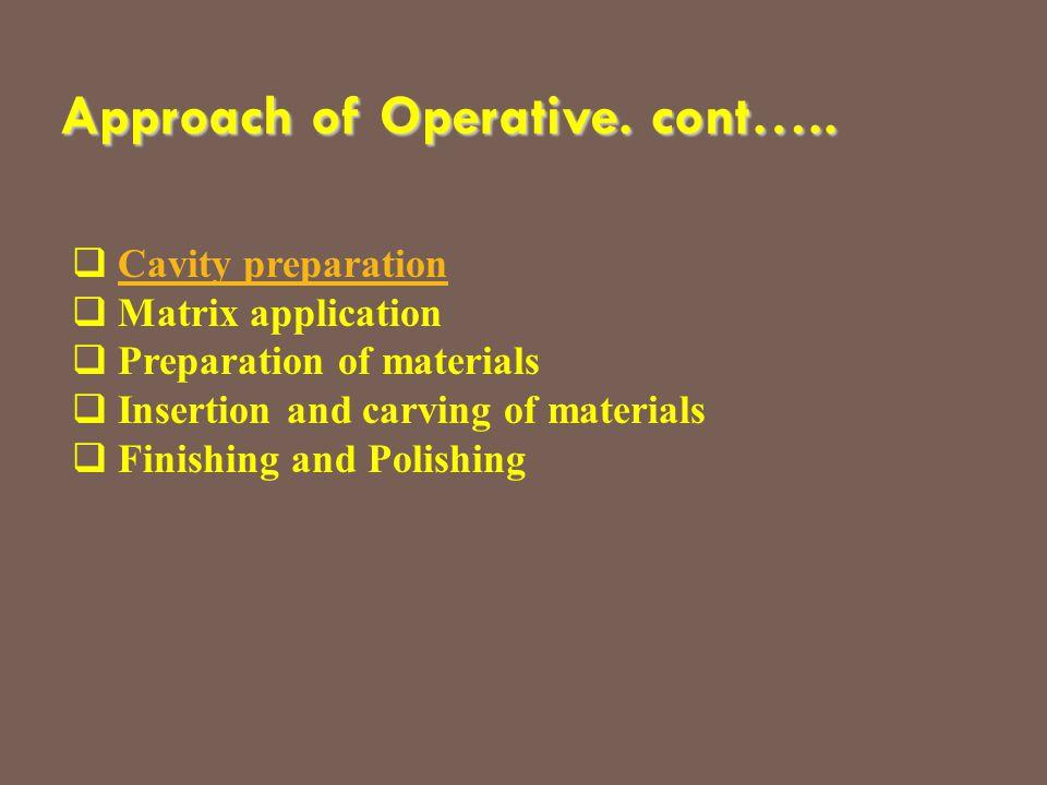  Cavity preparationCavity preparation  Matrix application  Preparation of materials  Insertion and carving of materials  Finishing and Polishing