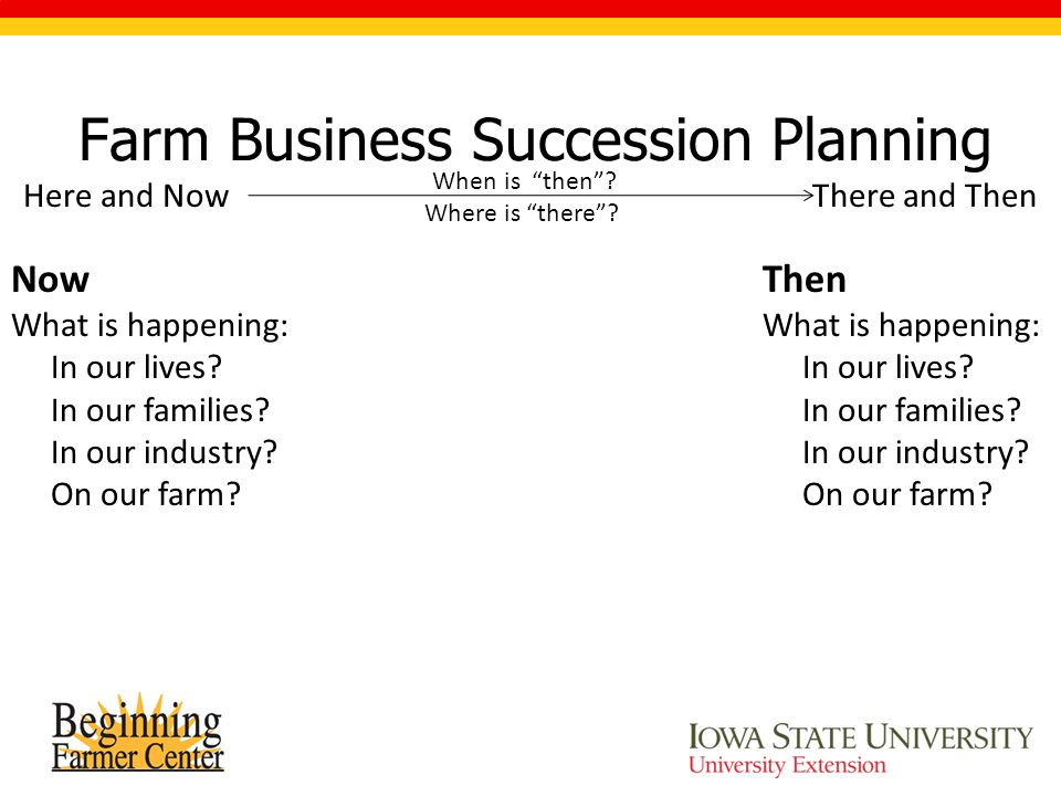 Farm Business Succession Planning Here and Now There and Then When is then .