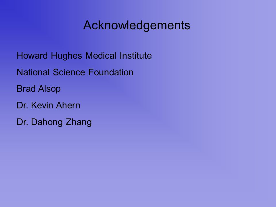 Acknowledgements Howard Hughes Medical Institute National Science Foundation Brad Alsop Dr. Kevin Ahern Dr. Dahong Zhang