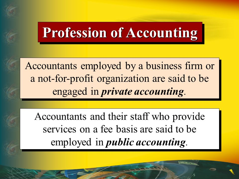 Profession of Accounting Accountants employed by a business firm or a not-for-profit organization are said to be engaged in private accounting. Accoun