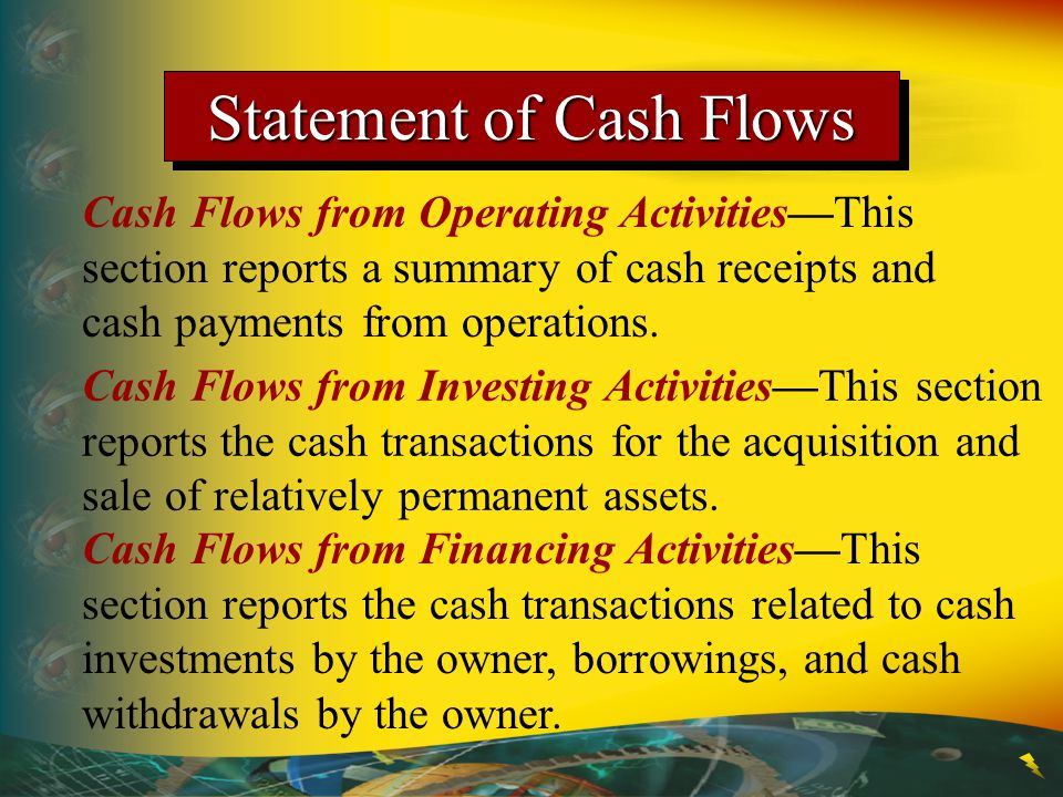 Statement of Cash Flows Cash Flows from Operating Activities—This section reports a summary of cash receipts and cash payments from operations. Cash F