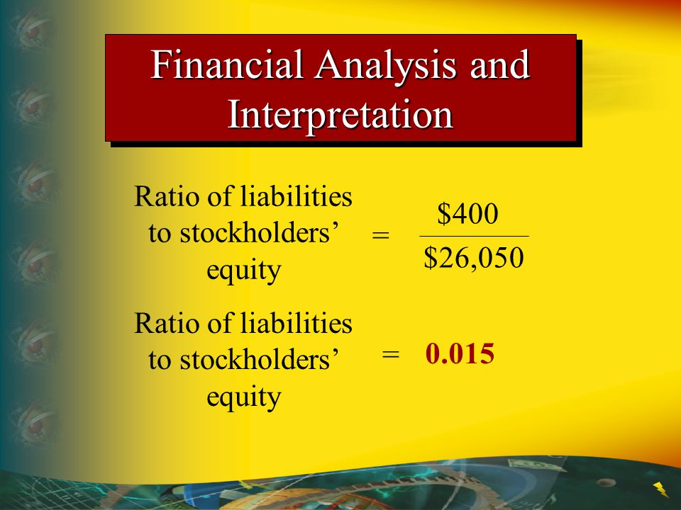 Ratio of liabilities to stockholders' equity = $400 $26,050 = 0.015 Ratio of liabilities to stockholders' equity Financial Analysis and Interpretation