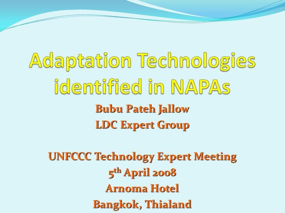 Bubu Pateh Jallow LDC Expert Group UNFCCC Technology Expert Meeting 5 th April 2008 Arnoma Hotel Bangkok, Thialand