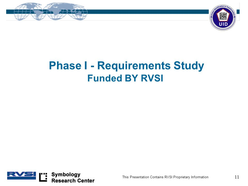 11 This Presentation Contains RVSI Proprietary Information Phase I - Requirements Study Funded BY RVSI