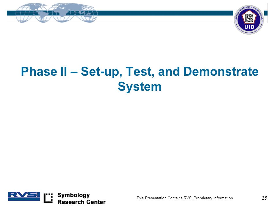 25 This Presentation Contains RVSI Proprietary Information Phase II – Set-up, Test, and Demonstrate System
