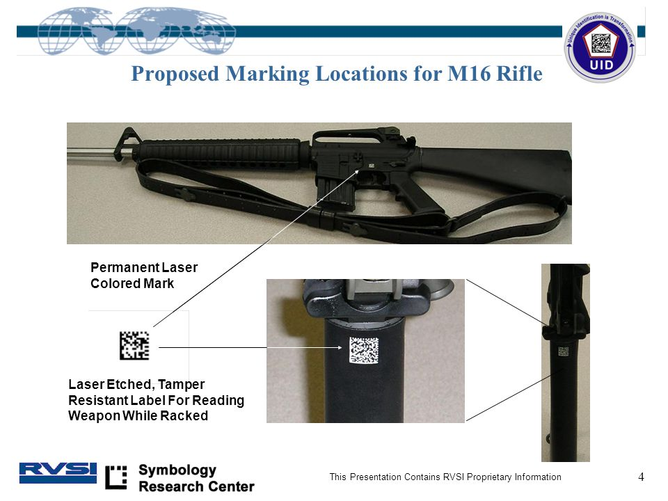 4 This Presentation Contains RVSI Proprietary Information Proposed Marking Locations for M16 Rifle Permanent Laser Colored Mark Laser Etched, Tamper Resistant Label For Reading Weapon While Racked