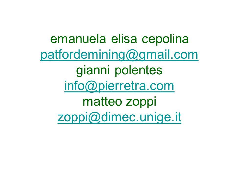 emanuela elisa cepolina patfordemining@gmail.com gianni polentes info@pierretra.com matteo zoppi zoppi@dimec.unige.it patfordemining@gmail.com info@pierretra.com zoppi@dimec.unige.it