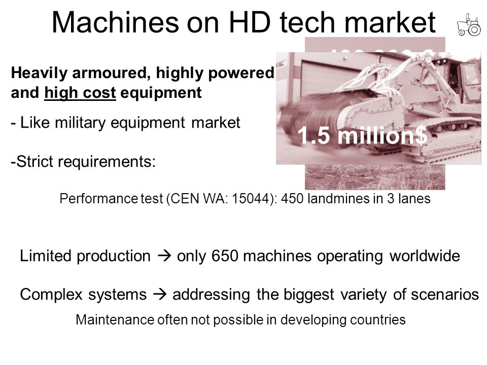 - Like military equipment market -Strict requirements: Performance test (CEN WA: 15044): 450 landmines in 3 lanes Limited production  only 650 machines operating worldwide Complex systems  addressing the biggest variety of scenarios Machines on HD tech market Heavily armoured, highly powered and high cost equipment Maintenance often not possible in developing countries 250.000€ 400.000 € 800.000$ 1.5 million$