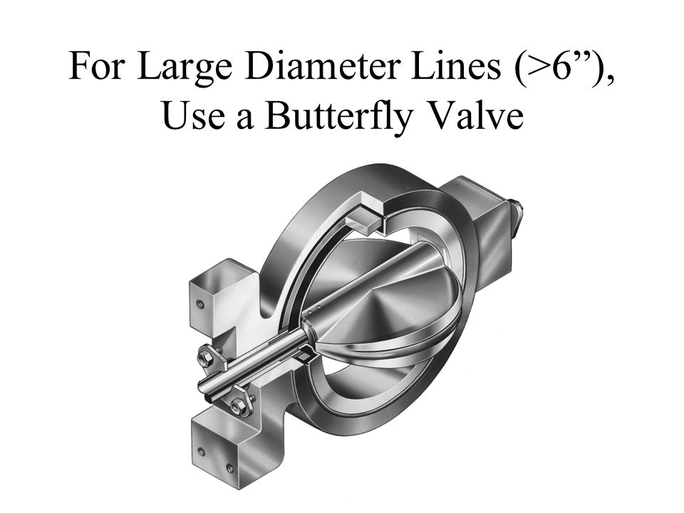 "For Large Diameter Lines (>6""), Use a Butterfly Valve"