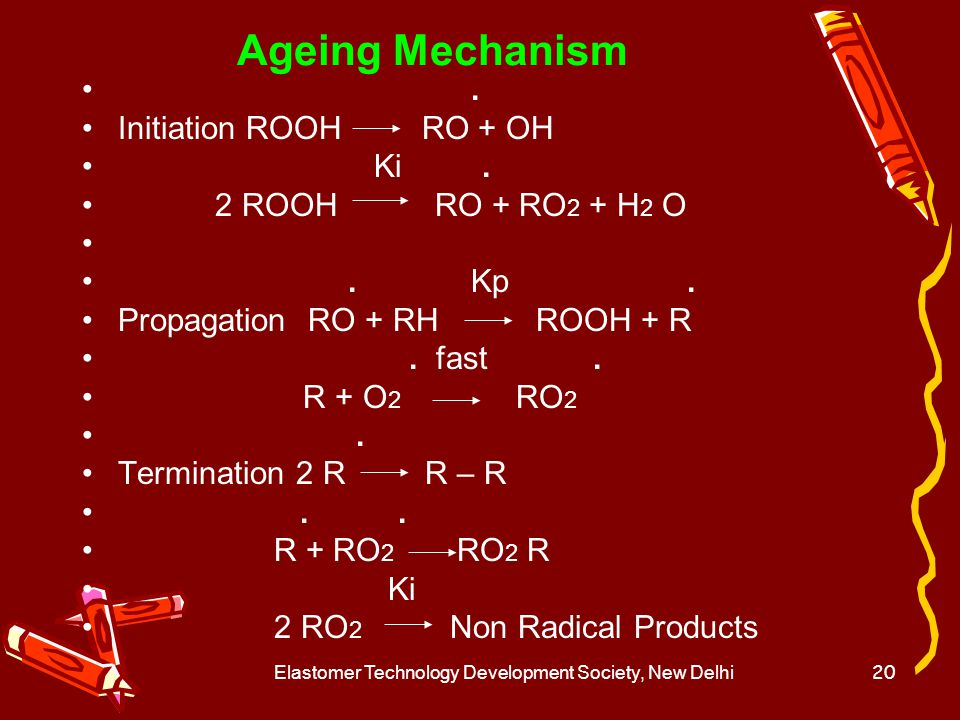 Elastomer Technology Development Society, New Delhi21 Oxidative Ageing of NR The oxidation of a rubber molecule is shown below.