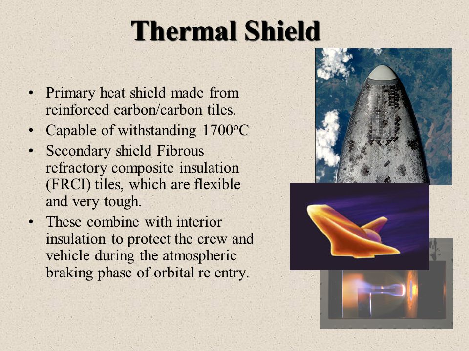 Thermal Shield Primary heat shield made from reinforced carbon/carbon tiles.