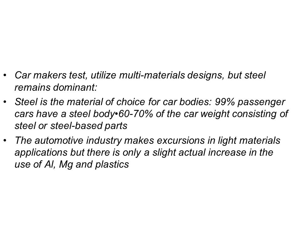 Car makers test, utilize multi-materials designs, but steel remains dominant: Steel is the material of choice for car bodies: 99% passenger cars have