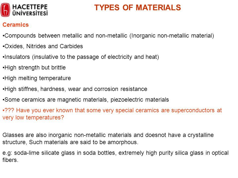 Ceramics Compounds between metallic and non-metallic (Inorganic non-metallic material) Oxides, Nitrides and Carbides Insulators (insulative to the pas