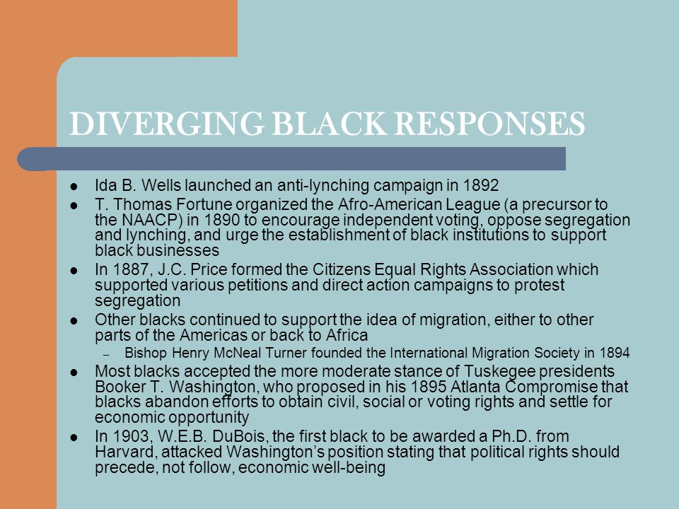 DIVERGING BLACK RESPONSES Ida B.Wells launched an anti-lynching campaign in 1892 T.