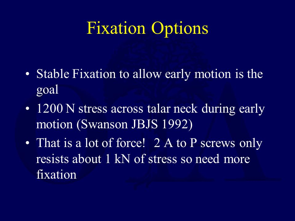 Fixation Options Stable Fixation to allow early motion is the goal 1200 N stress across talar neck during early motion (Swanson JBJS 1992) That is a l