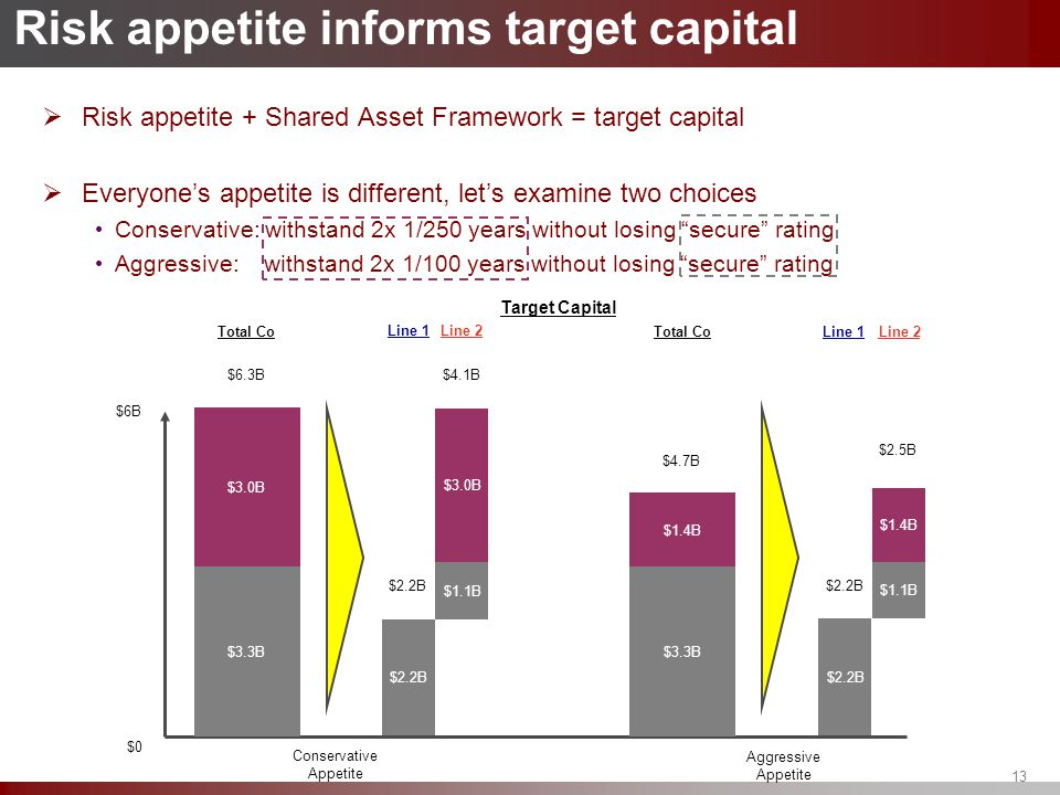 13 Risk appetite informs target capital  Risk appetite + Shared Asset Framework = target capital  Everyone's appetite is different, let's examine tw