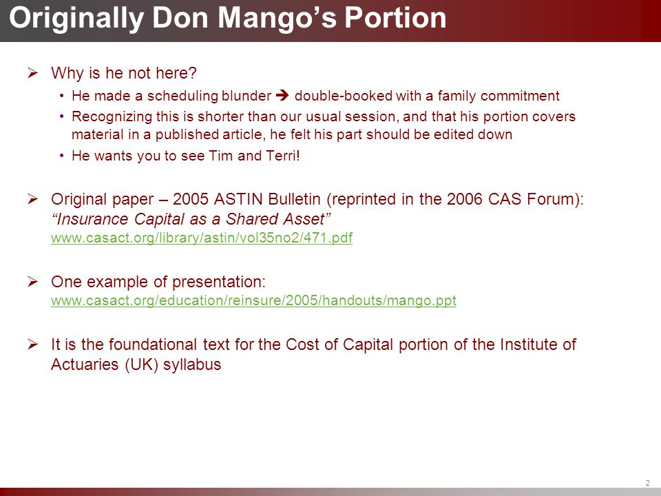 Originally Don Mango's Portion  Why is he not here? He made a scheduling blunder  double-booked with a family commitment Recognizing this is shorter