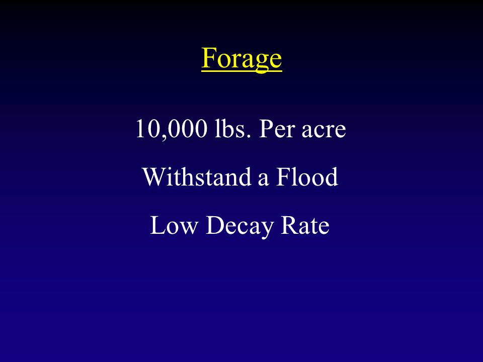 Forage 10,000 lbs. Per acre Withstand a Flood Low Decay Rate