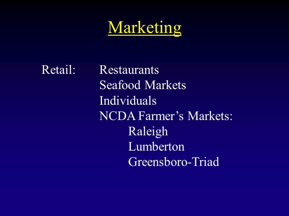 Marketing Retail:Restaurants Seafood Markets Individuals NCDA Farmer's Markets: Raleigh Lumberton Greensboro-Triad