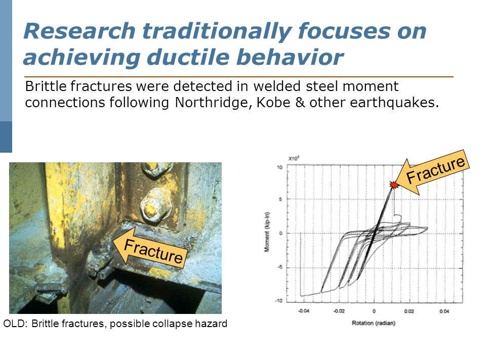 Research traditionally focuses on achieving ductile response Brittle fractures were detected in welded steel moment connections following Northridge, Kobe & other earthquakes.