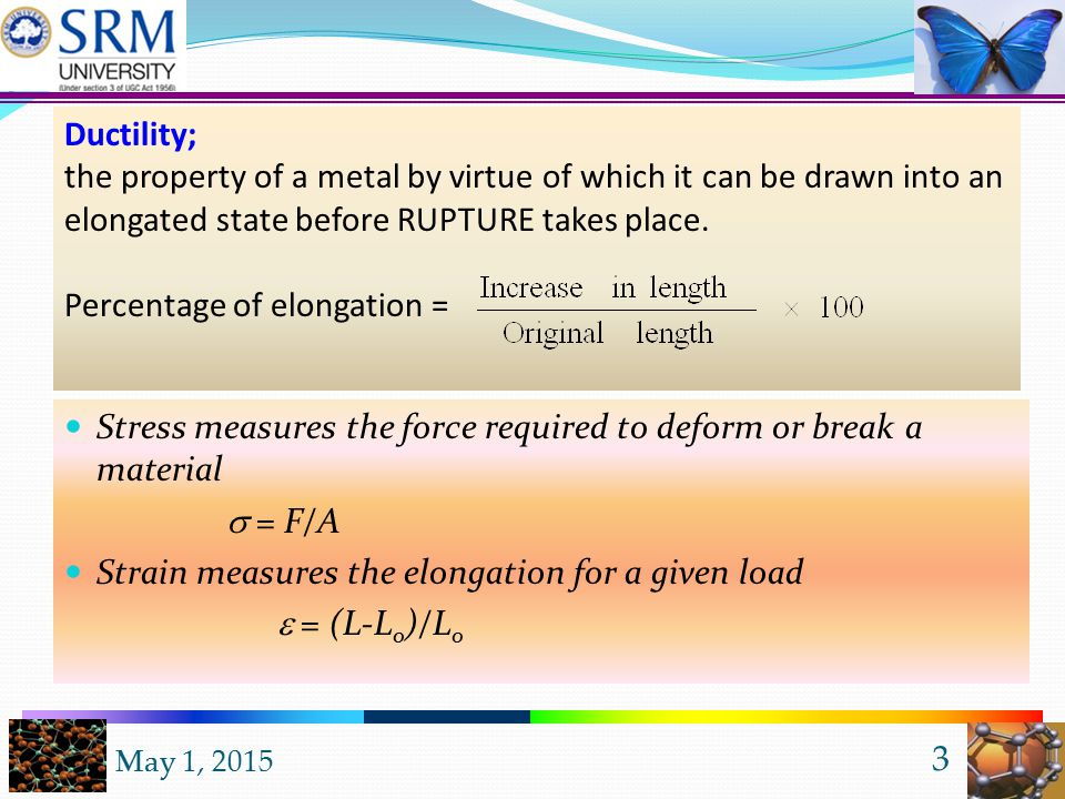 May 1, 2015 2 Features of ductile/brittle materials Destructive testing & explanations Fundamental mechanical properties Stress-strain relation for different engineering materials Examples Outline of the presentation