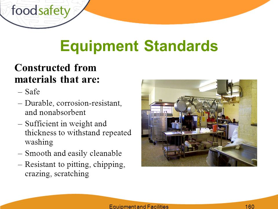 Equipment and Facilities171 Requirements for Linens Linens are fabric items, such as cloth hampers, cloth napkins, wiping cloths, work clothes.