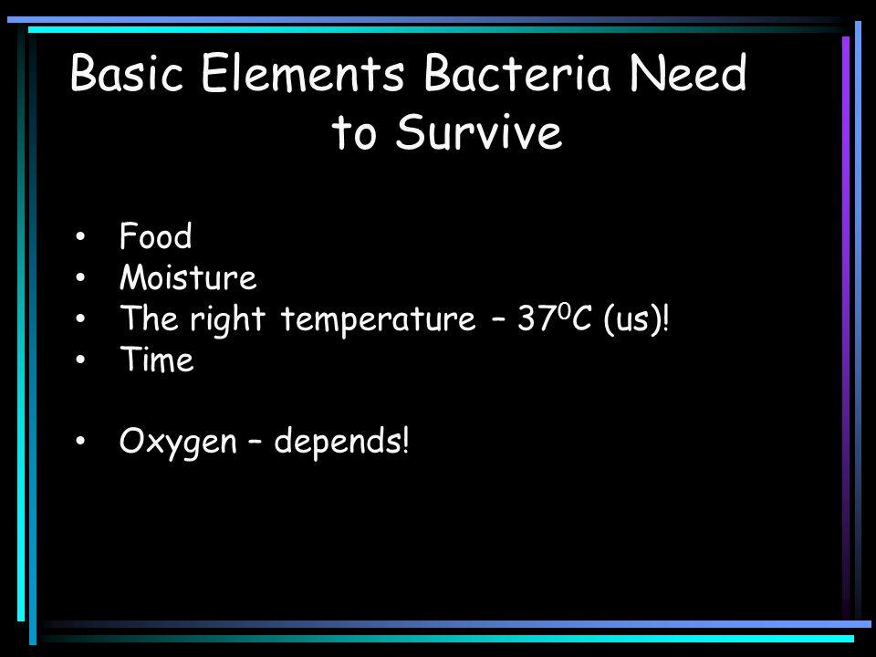 Food Moisture The right temperature – 37 0 C (us).