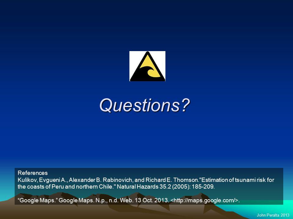 Questions. John Peralta 2013 References Kulikov, Evgueni A., Alexander B.