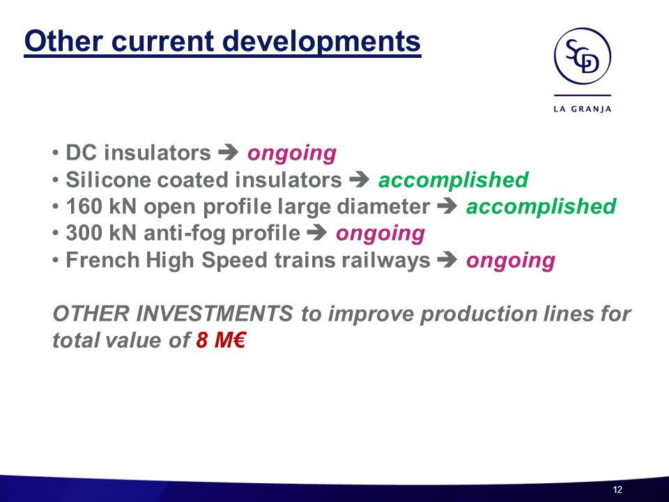 12 Other current developments DC insulators  ongoing Silicone coated insulators  accomplished 160 kN open profile large diameter  accomplished 300 kN anti-fog profile  ongoing French High Speed trains railways  ongoing OTHER INVESTMENTS to improve production lines for total value of 8 M€