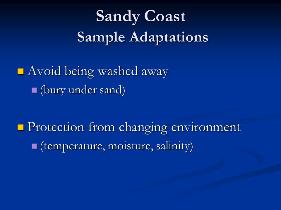 Sandy Coast Sample Adaptations Avoid being washed away Avoid being washed away (bury under sand) (bury under sand) Protection from changing environmen